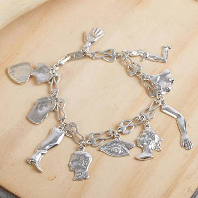 Sterling silver charm bracelet, 'Little Miracles' - Handcrafted Sterling Silver Charm Bracelet