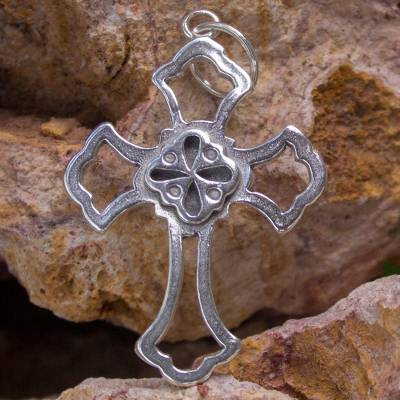 Sterling silver pendant, 'Tradition' - Artisan Handcrafted Sterling Silver Cross Pendant