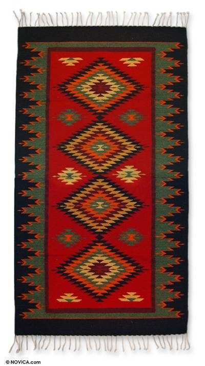 Zapotec wool rug, 'Paths of Life' (3x5) - Zapotec Rug (3x5)