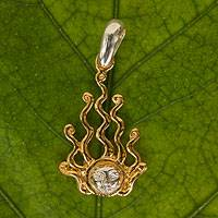 Gold plated sterling silver pendant, 'Descending Sun' - Sun Pendant in Gold Plated Sterling Silver