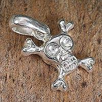 Sterling silver pendant, 'Skull and Bones' - Sterling silver pendant