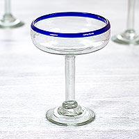 Margarita glasses, 'Blue Cheer' (set of 6) - 6 Hand Made Handblown Glass Maragarita Cocktail Drinkware