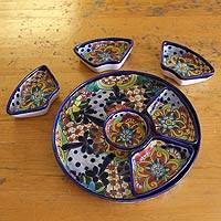 Ceramic appetizer set, 'Festive Feast' - Fair Trade Mexican Talavera Ceramic Canape Platter