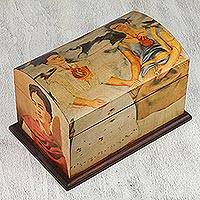 Decoupage chest, 'The Two Fridas' - Frida Kaho Wood Decorative Box