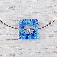 Dichroic art glass pendant necklace, 'Blue Rhapsody' - Handmade Modern Glass Pendant Necklace
