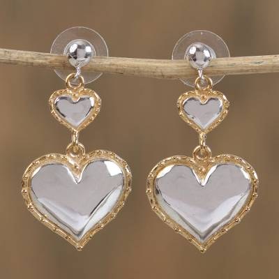 Gold accented sterling silver dangle earrings, 'Hearts' - Gold Accented Silver Heart Earrings