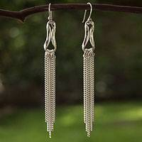 Sterling silver waterfall earrings, 'Imagine' - Sterling silver waterfall earrings