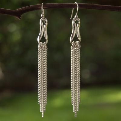 Sterling silver waterfall earrings, 'Imagine' - Sterling silver waterfall earrings