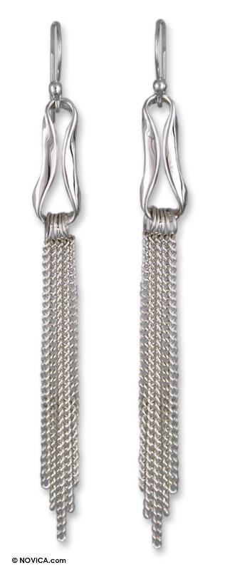 Sterling silver waterfall earrings