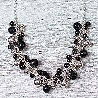 Obsidian cluster necklace,