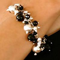 Obsidian beaded bracelet, 'Ritual Adornments' - Hand Made Taxco Silver Beaded Onyx Bracelet