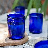 Tumblers, 'Cobalt Dreams' (set of 6) - Blue Hand Blown Glass Tumblers Set of 6 Mexico