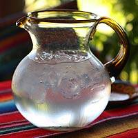 Glass pitcher, 'Amber Harmony' - Hand Made Handblown Recycled Glass Pitcher Mexico