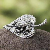 Sterling silver brooch pin, 'Moonlit Frog' (Mexico)