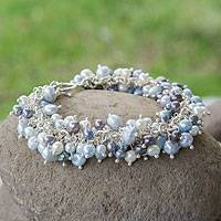Pearl beaded bracelet, 'Nautical Melody'