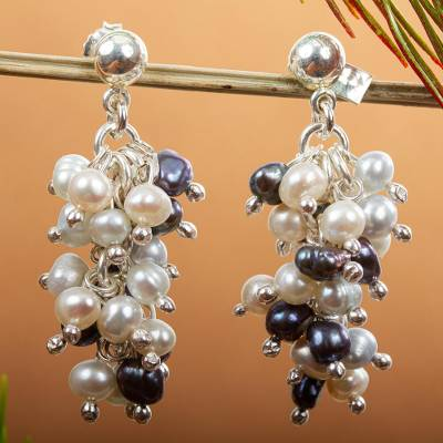 Pearl cluster earrings, Nautical Melody