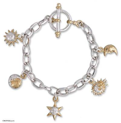 Gold Accented Moon and Sun Charm Bracelet