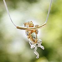 Gold plated necklace, 'Cat Trapeze' - Handmade Gold Accent Cat Necklace