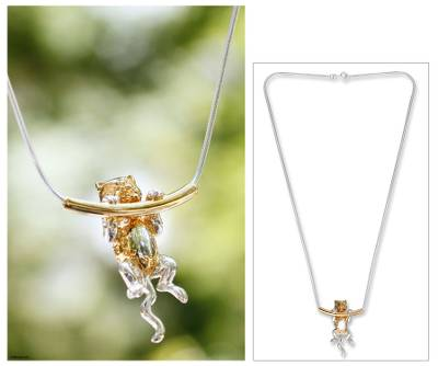 Gold plated necklace, Cat Trapeze
