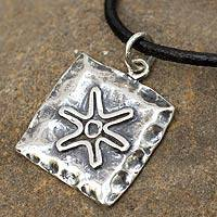 Leather necklace, Aztec Starfish