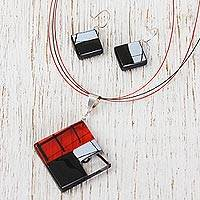 Dichroic art glass jewelry set, 'Sophisticate' - Hand Made Modern Art Glass Pendant and Earrings jewellery Se