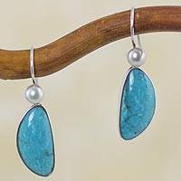 Cultured pearl and turquoise dangle earrings, 'Blue Sky Dreams' - Natural Turquoise and Pearl Mexican Earrings