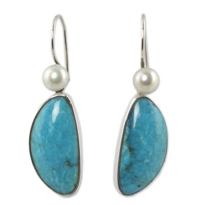 Natural Turquoise and Pearl Mexican Earrings