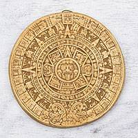 Ceramic plaque, 'Small Ochre Aztec Calendar' - Mexico Archaeological Ceramic Placque