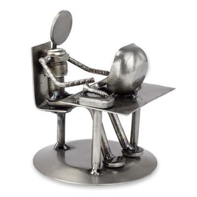 Recycled Metal Electronics Technician Sculpture