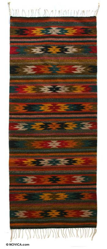 Handmade Zapotec Star Motif Area Rug (2.5x6.5)