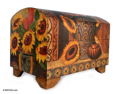 Decoupage chest, 'Sunflowers and Talavera' - Handmade Mexican Floral Decoupage Chest