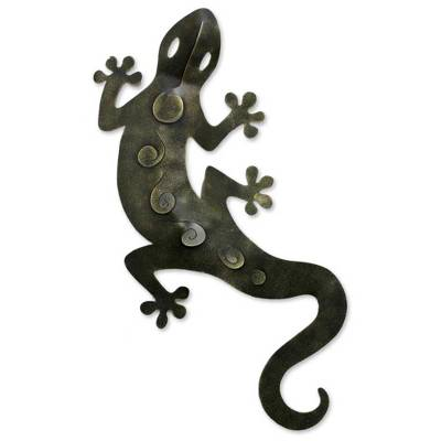 Handcrafted Mexican Iron Gecko Garden Wall Scuplture from Novica