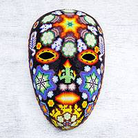 Beadwork mask, 'Scorpions and Deer' - Handcrafted Huichol Papier Mache Mask with Beadwork