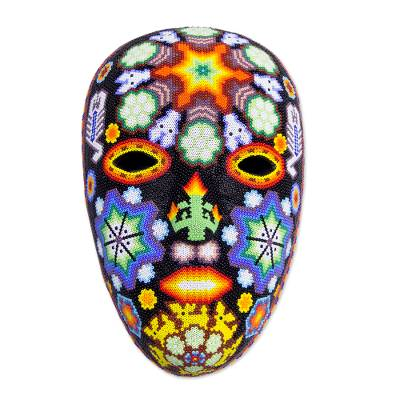 Handcrafted Huichol Papier Mache Mask with Beadwork