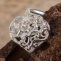 Sterling silver pendant, 'Wild Hearts' - Sterling silver pendant