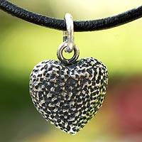 Leather heart necklace, 'Heart Fossil'