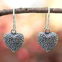 Sterling silver heart earrings, 'Heart Fossil' - Sterling silver heart earrings
