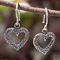 Sterling silver heart earrings, 'Heart Fossil' - Unique Heart Shaped Sterling Silver Dangle Earrings