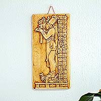 Ceramic wall panel, 'Maya Priest's Offerings' - Palenque Mayan Priest Handmade Ceramic Replica Wall Panel