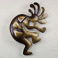 Iron wall adornment, 'Kokopelli Peace' (large) - Dancer Steel Wall Art (Large)