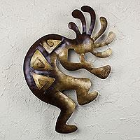Iron wall adornment, 'Kokopelli Peace' (large) - Dancer Steel Wall Art (Large)