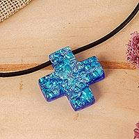 Dichroic art glass cross necklace, 'Seafarer Cross' - Dichroic art glass cross necklace