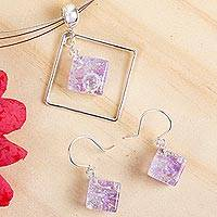 Dichroic art glass jewelry set, 'Dancing Diamond' - Modern Art Glass Pendant jewellery Set