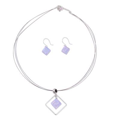 Modern Art Glass Pendant Jewelry Set
