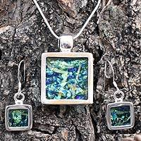 Dichroic art glass jewelry set, 'Aquarium' - Dichroic art glass jewelry set