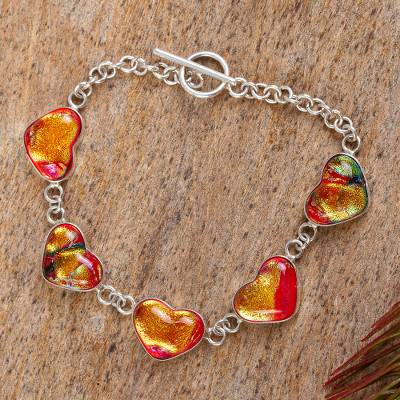 Dichroic glass bracelet, 'Hearts of Passion' - Dichroic glass bracelet