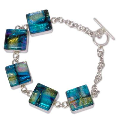 Dichroic glass link bracelet