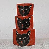 Ceramic candleholders, 'Black Cats' (set of 3) - Handcrafted Ceramic Cat Candle Holder (Set of 3)