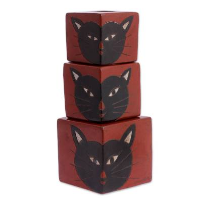 Handcrafted Ceramic Cat Candle Holder (Set of 3)