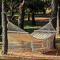 Cotton hammock, 'Maya Daydream' (single) - Natural Cotton Hammock Single Size Handmade in Mexico